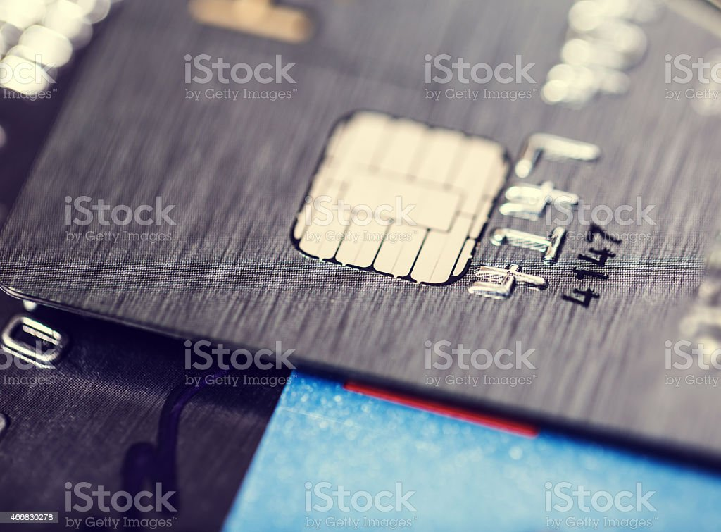 Microchip and numbers on a bank card stock photo
