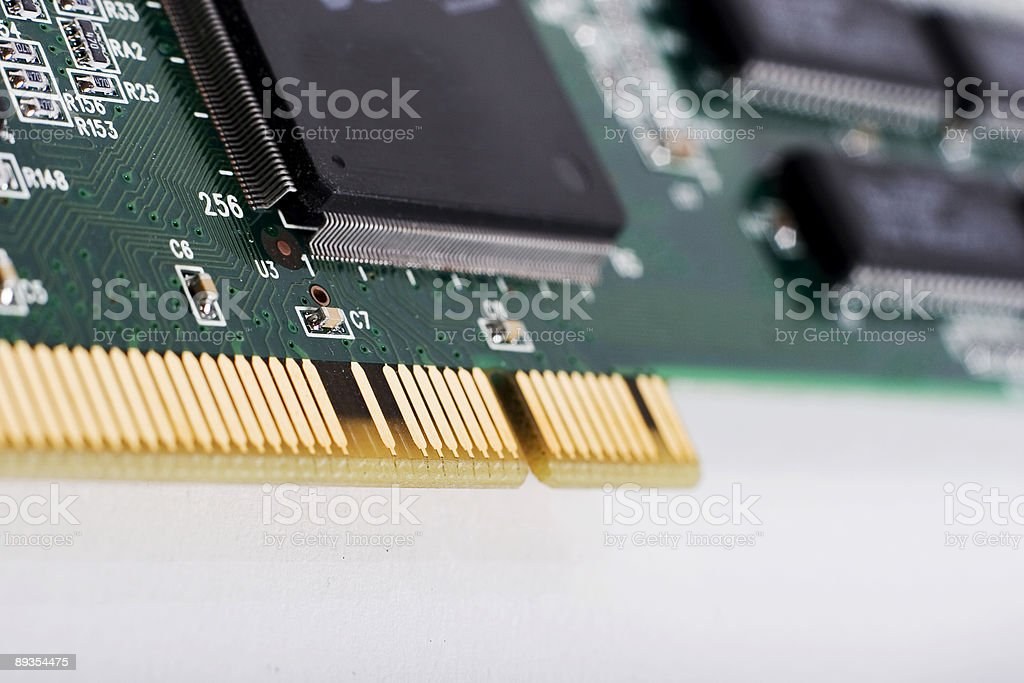 microchip and PCI slot up close royalty-free stock photo