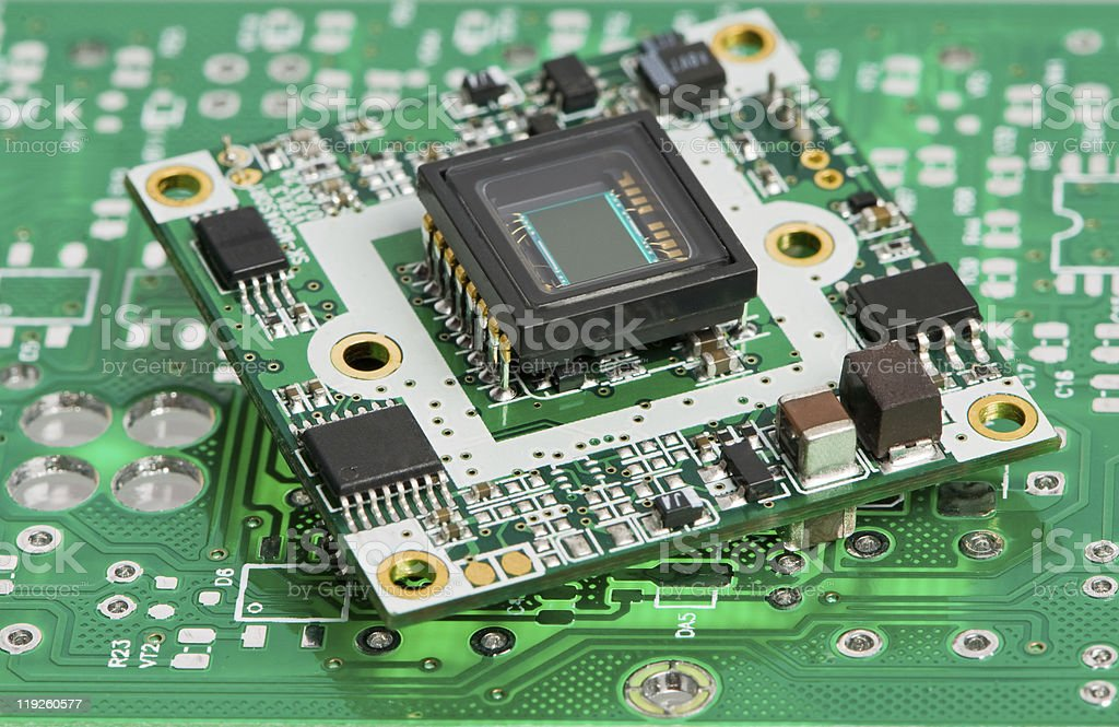 microchip board with sensor stock photo