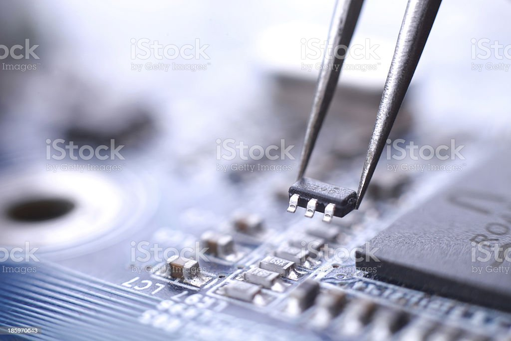 Microchip installation stock photo