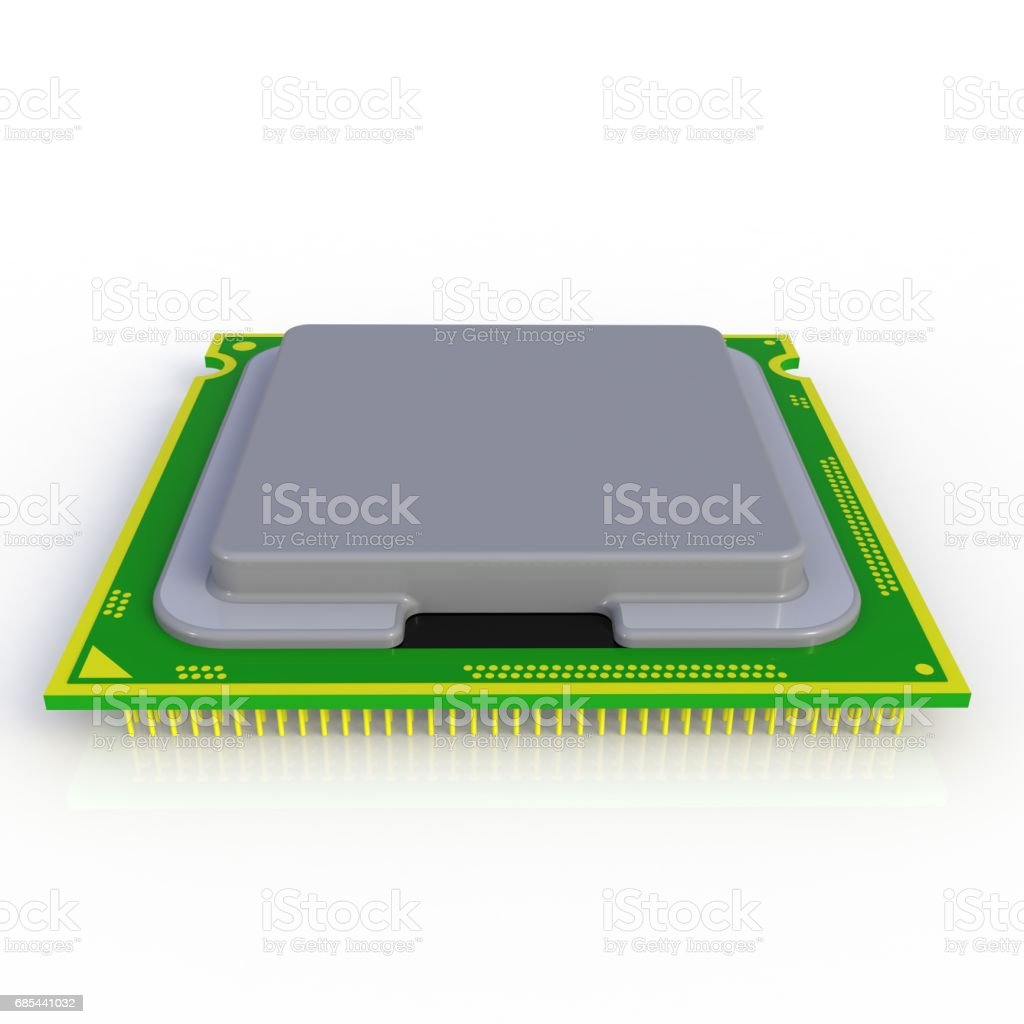 CPU (Central processing unit) microchip isolated on white background, 3D rendering stock photo