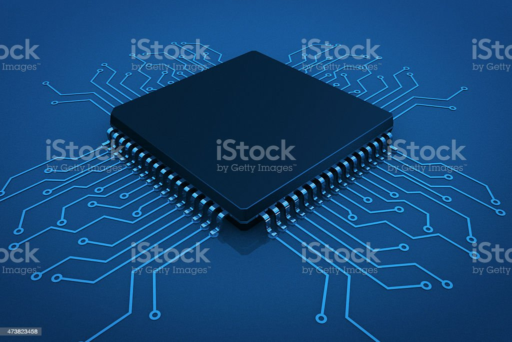 Microchip on circuit board stock photo