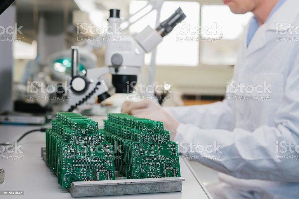 Microchip production factory. stock photo