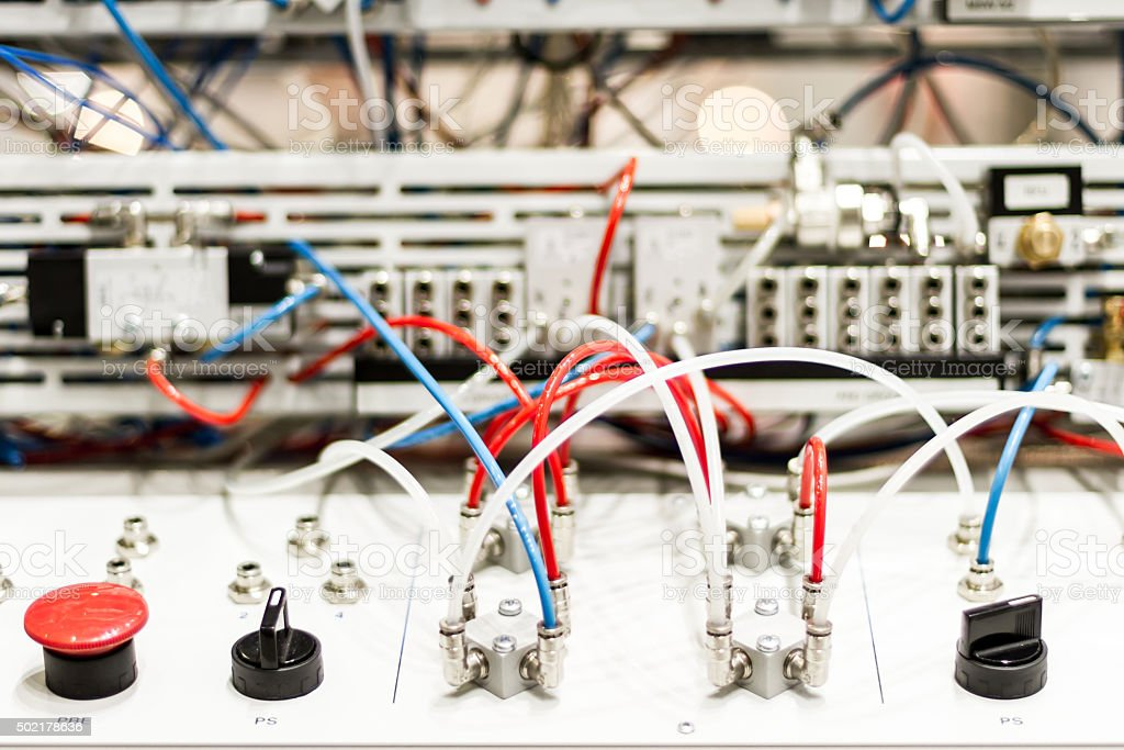 Microcontrollers for pneumatic pistons stock photo