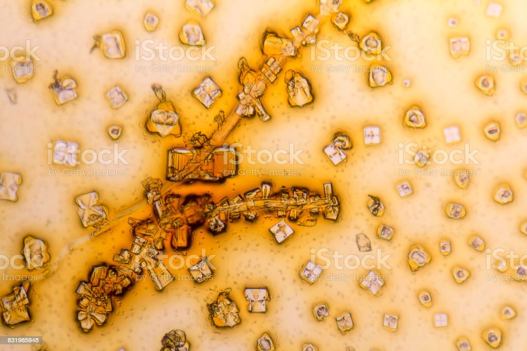 microcrystals in dried dyestuff stock photo