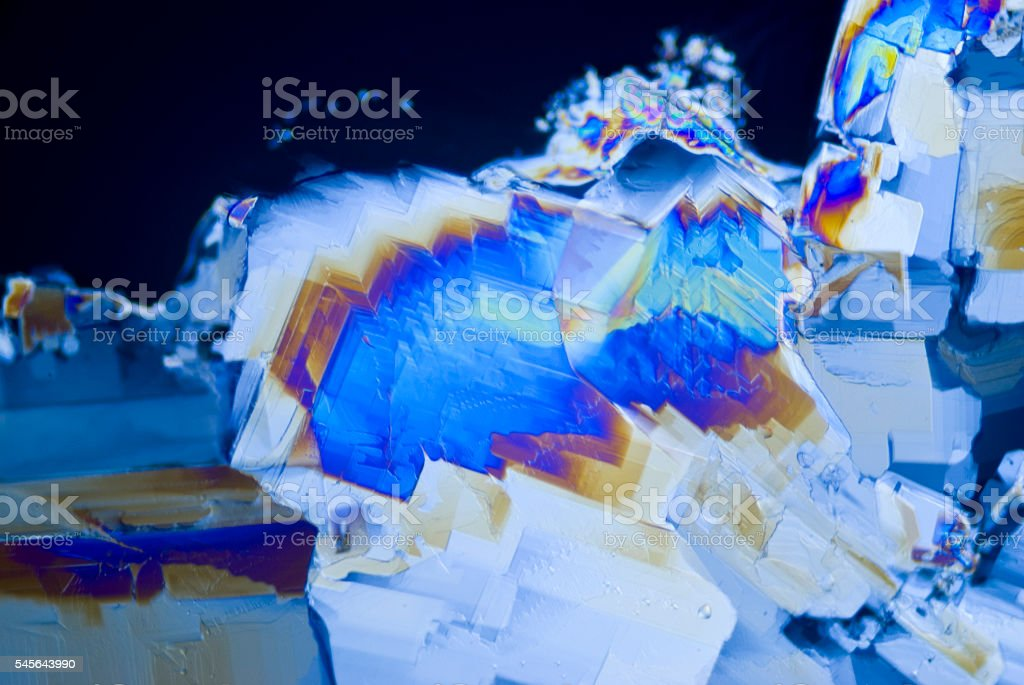 Microcrystals of Saccharin stock photo