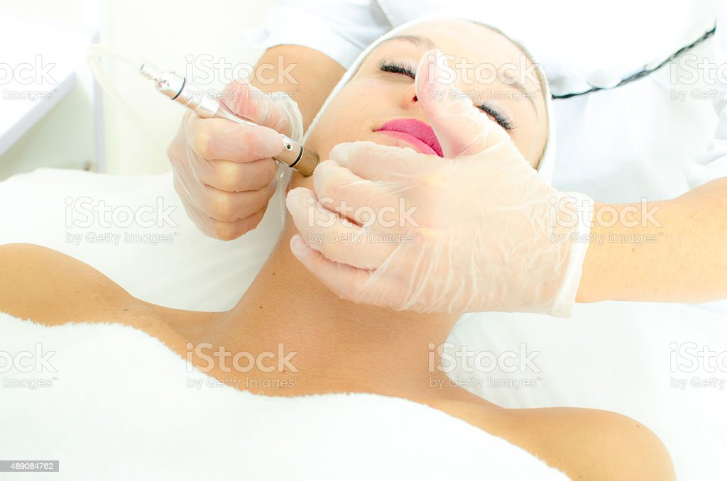 Microdermabrasion treatment stock photo