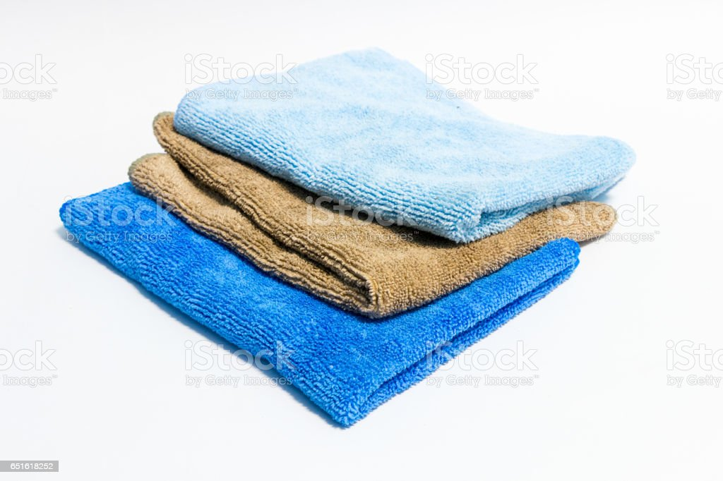 Microfiber towel for car wipe on white back ground stock photo
