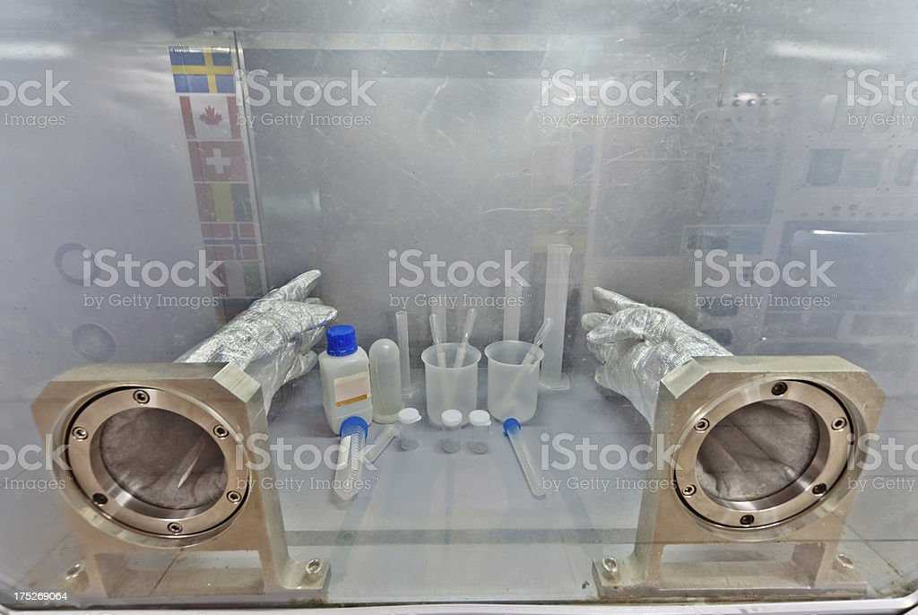 Microgravity Science glovebox for Space Station stock photo