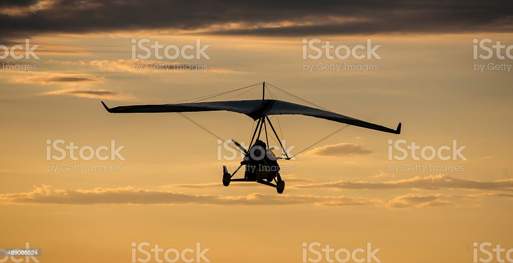 Microlight aircraft in the air stock photo