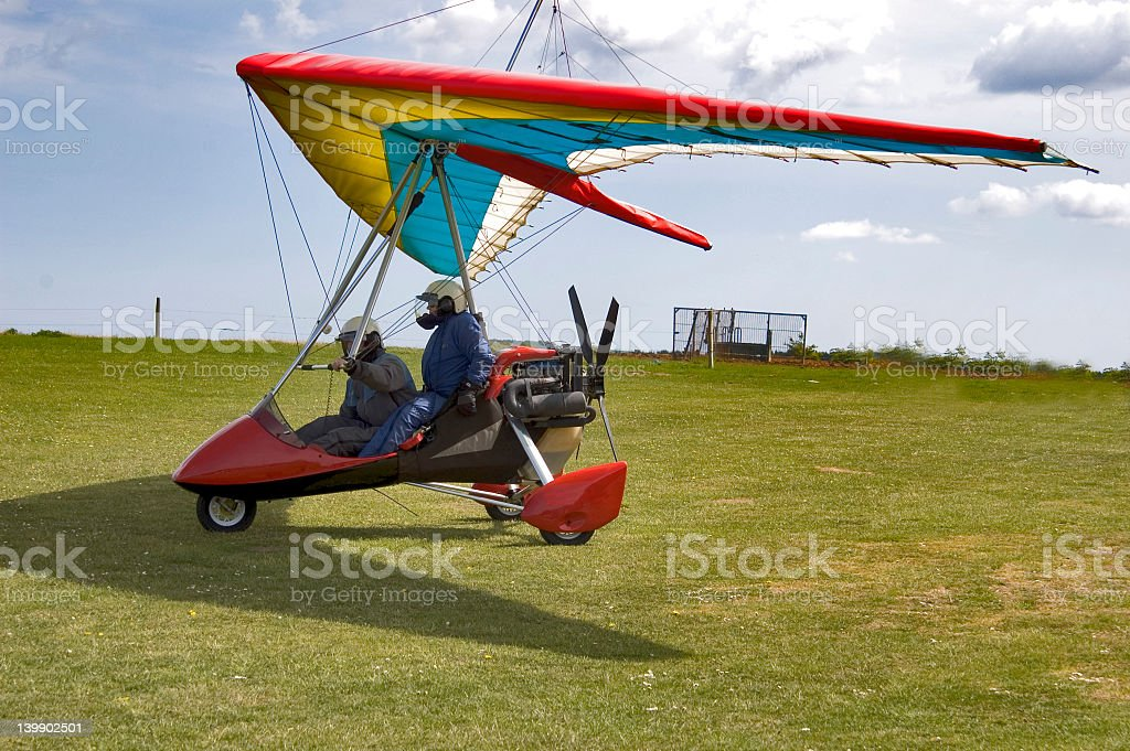 Microlight  with Pilot and passenger stock photo