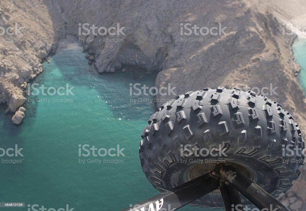 Microlighting over the Musandam Peninsula, Oman stock photo