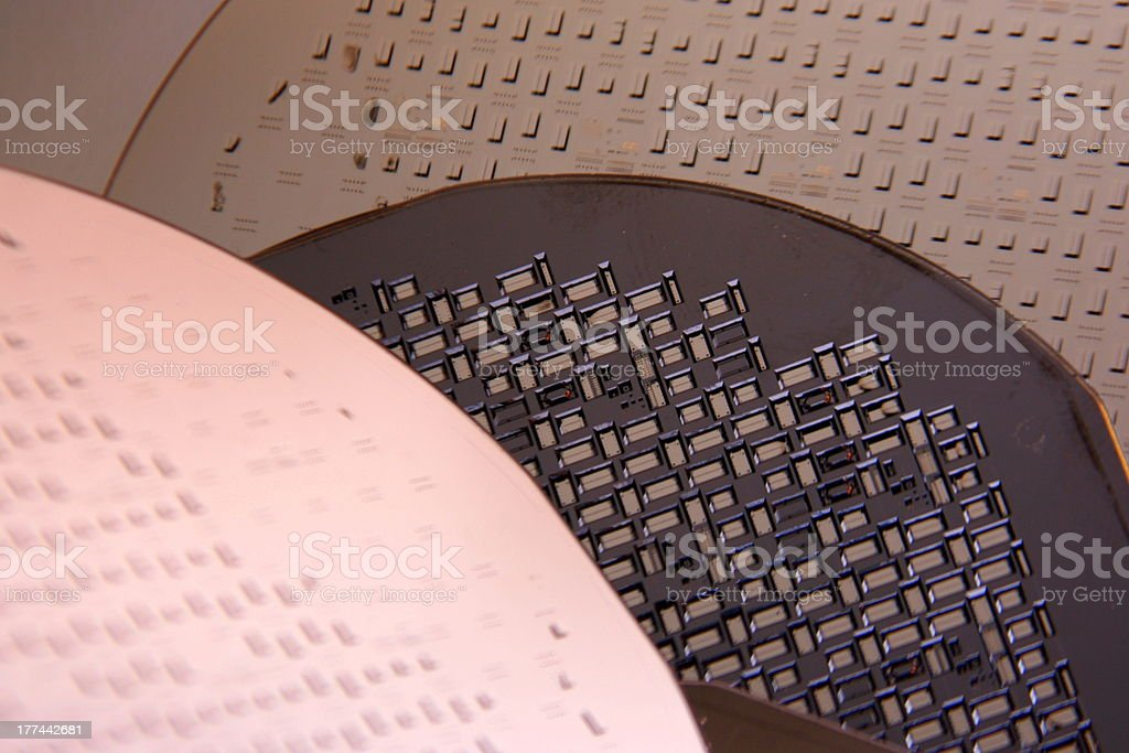 Micromechanical stuctures on wafers stock photo