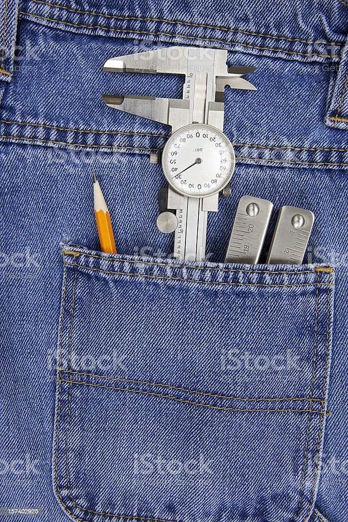 Micrometer in Back Pocket royalty-free stock photo