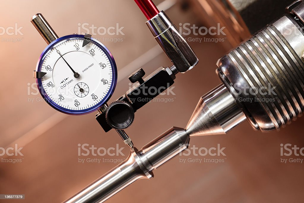 Micrometer measuring concentricity stock photo