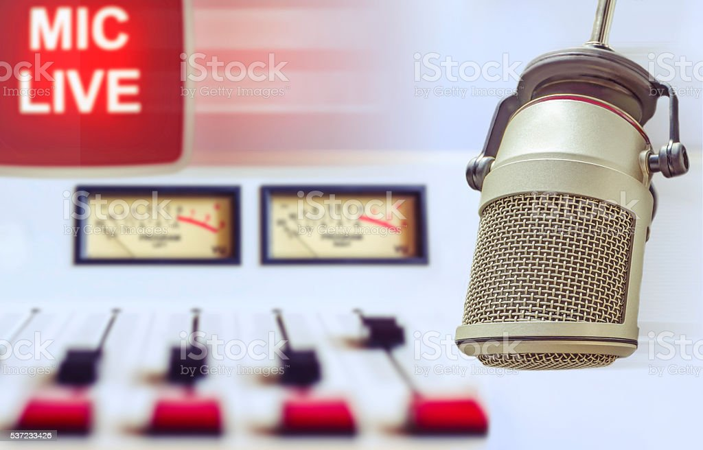 microphone and an audio console stock photo