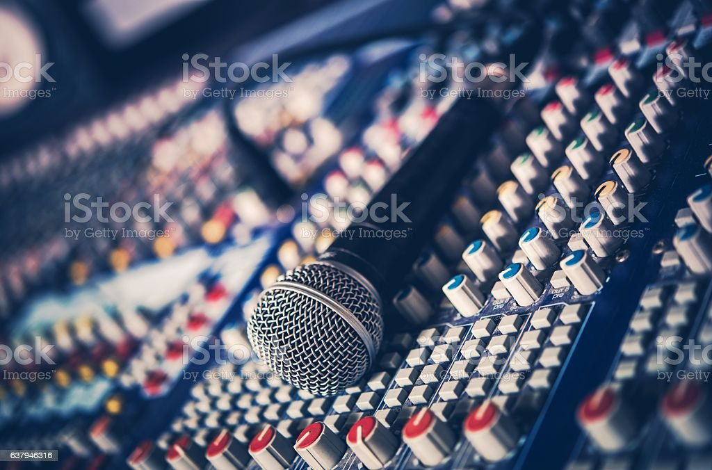 Microphone and Audio Mixer stock photo
