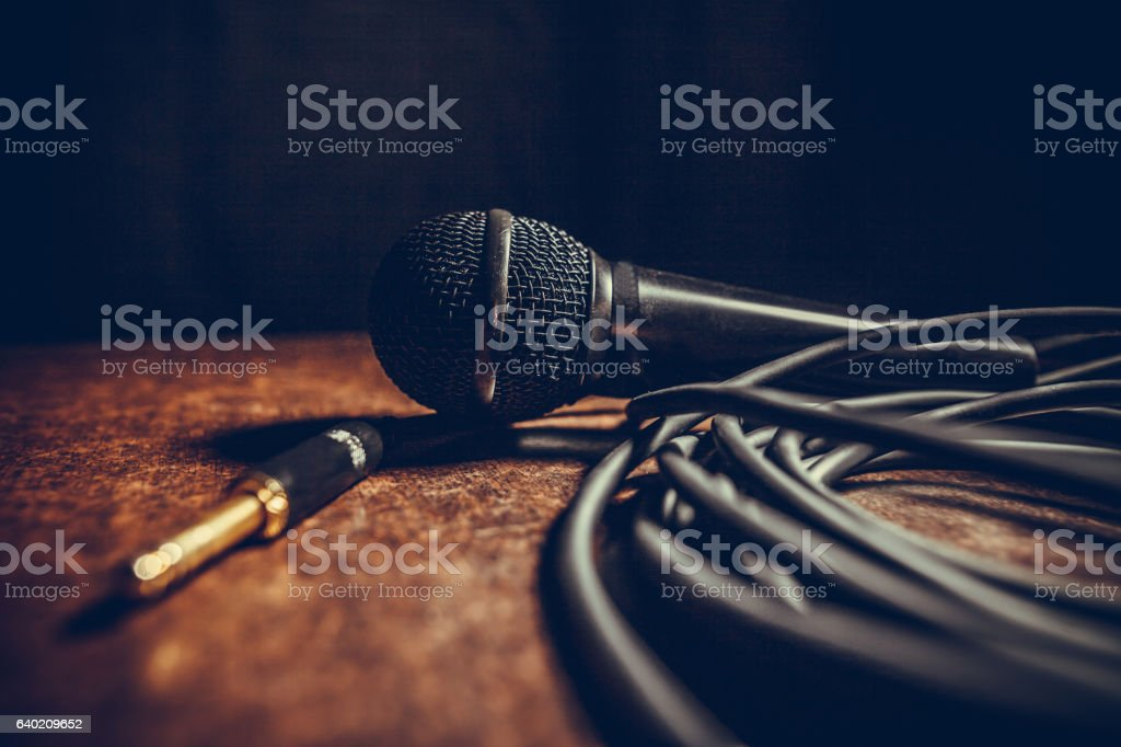 Microphone and cables stock photo