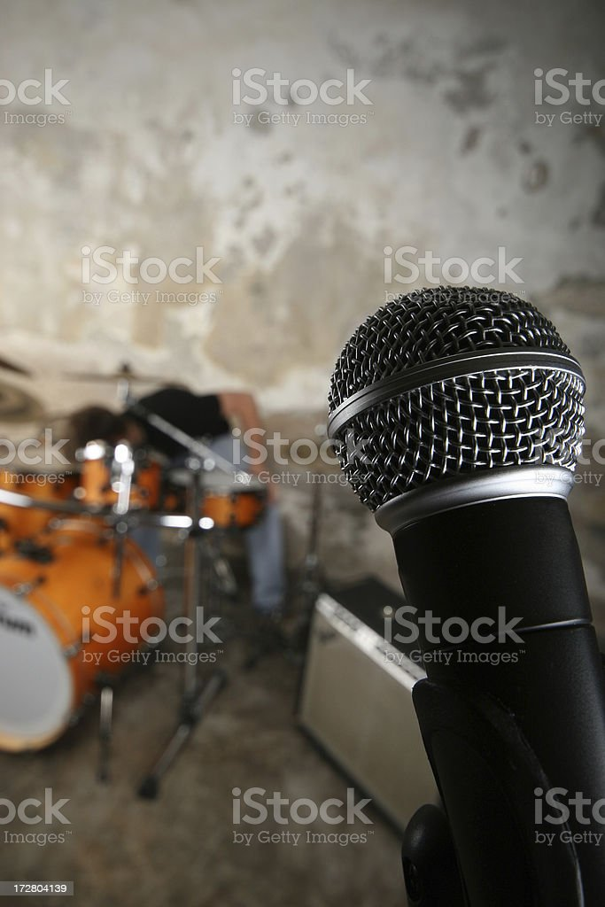 Microphone and drums stock photo
