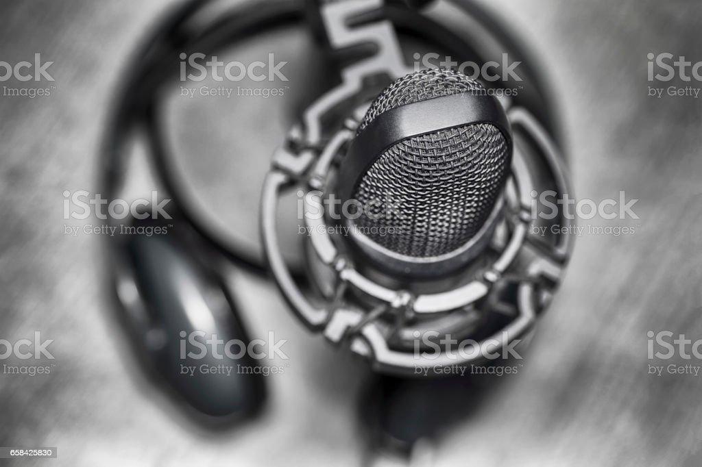 Microphone and headphones stock photo