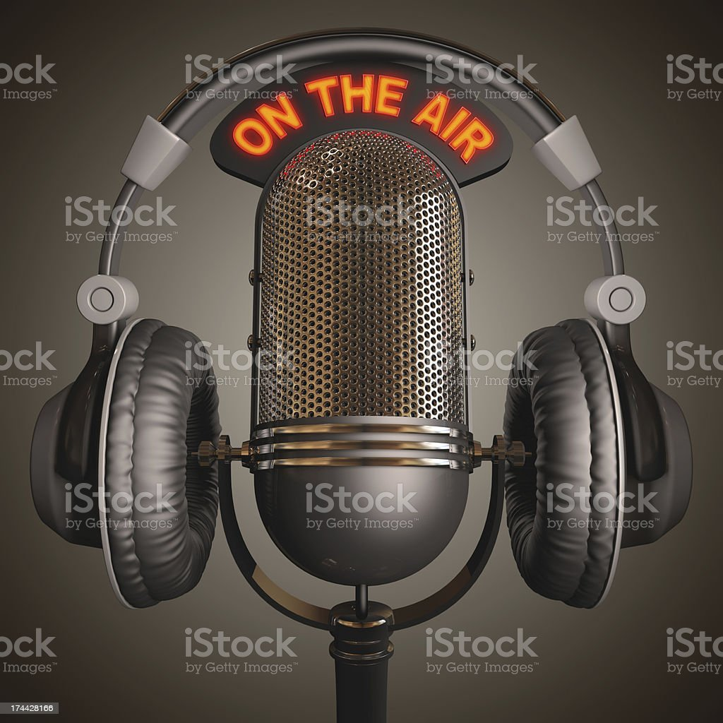 Microphone and headset with an on the air sign stock photo