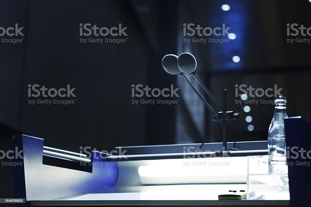 microphone and lectern royalty-free stock photo