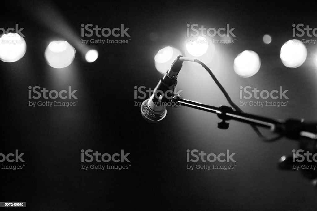 Microphone and Lights stock photo