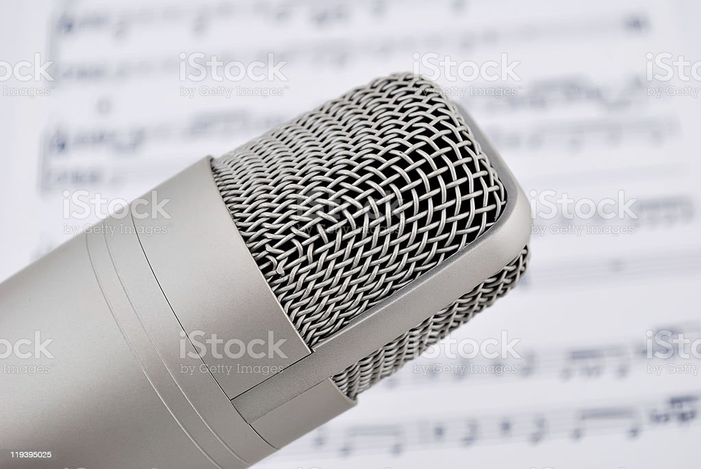 microphone and notes stock photo
