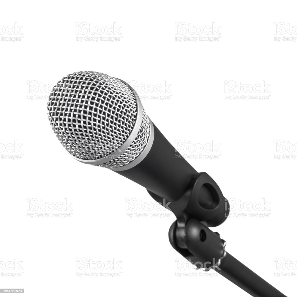 Microphone and part of the stand isolated on white background stock photo
