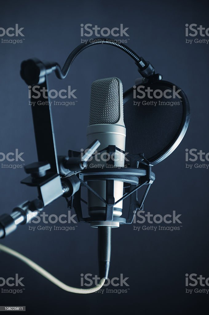 Microphone and Pop Filter royalty-free stock photo