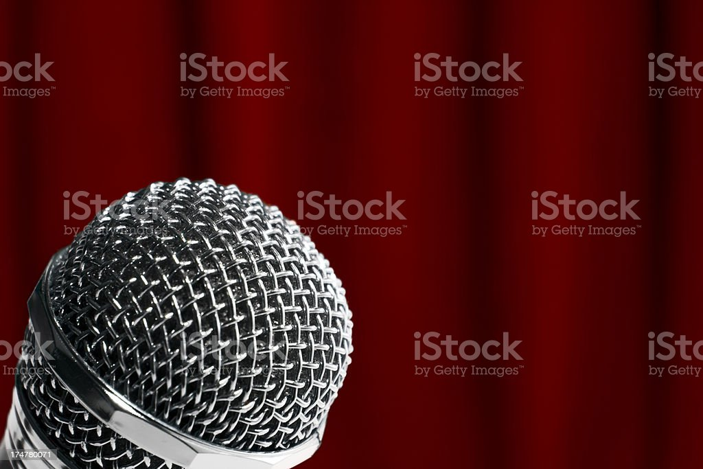 Microphone and red curtain royalty-free stock photo