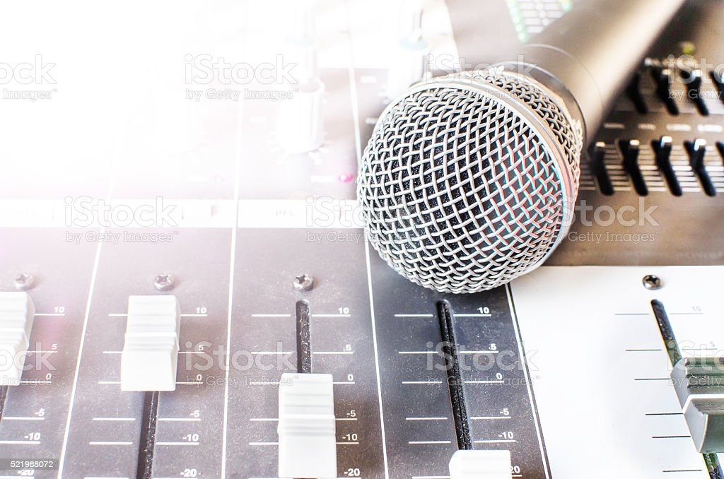 microphone and sound mixer backgrounds stock photo