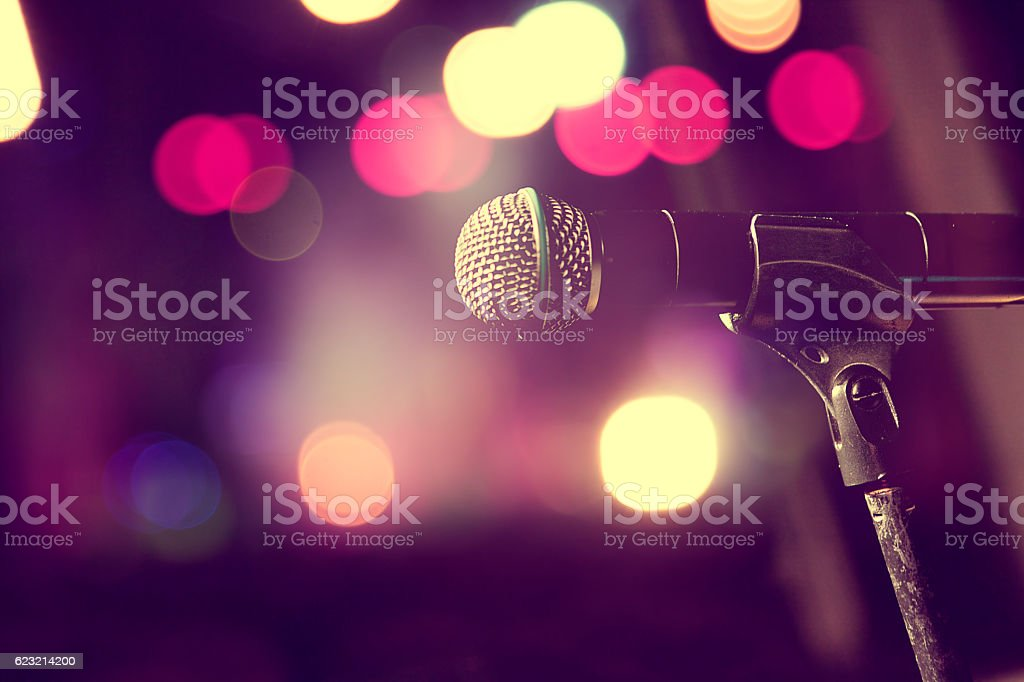 Microphone and stage lights.Concert and music concept stock photo