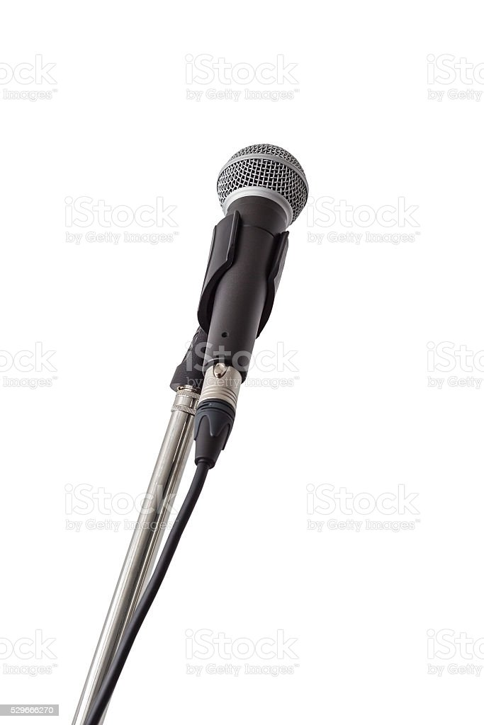 Microphone and stand isolated on white background stock photo