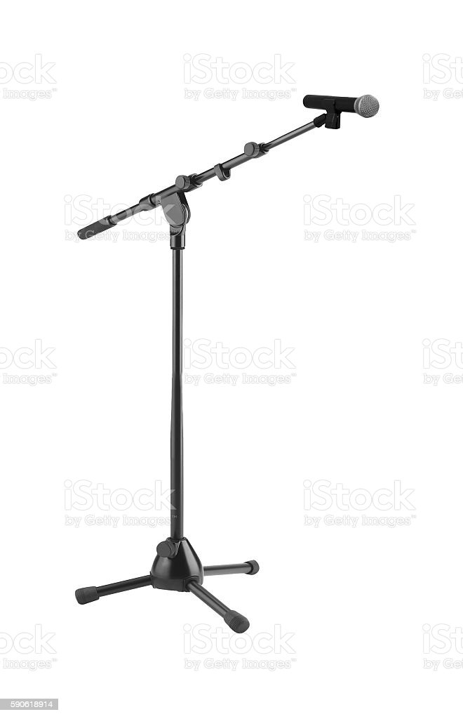 Microphone and stand isolated stock photo