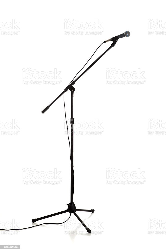 Microphone and stand on white stock photo
