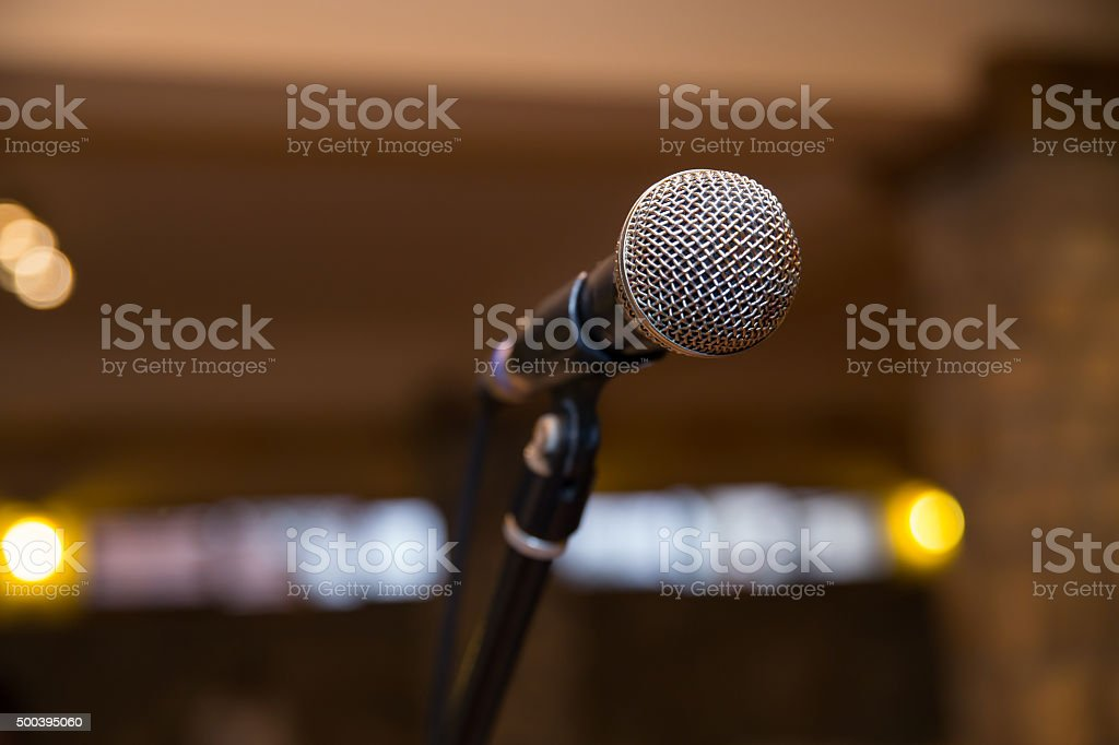 Microphone at a party. stock photo