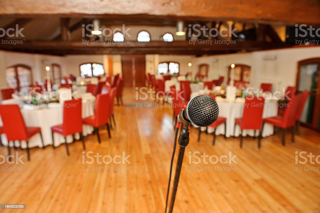 Microphone at banquet royalty-free stock photo