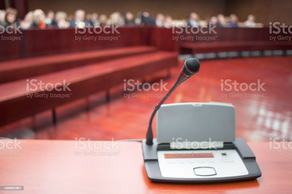 microphone at court house stock photo
