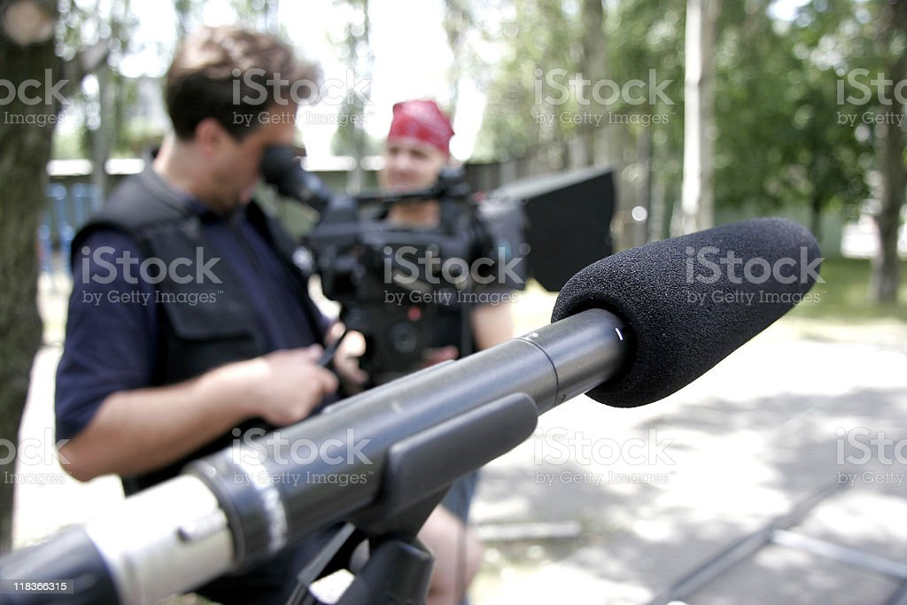 microphone at nature stock photo