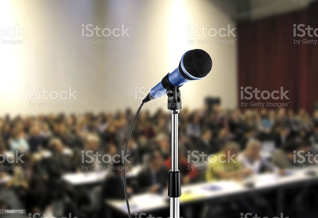 Microphone at Seminar Hall stock photo