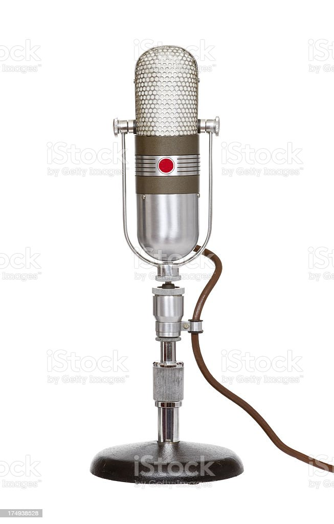 Microphone, Classic Retro Radio Station Style On White Background stock photo