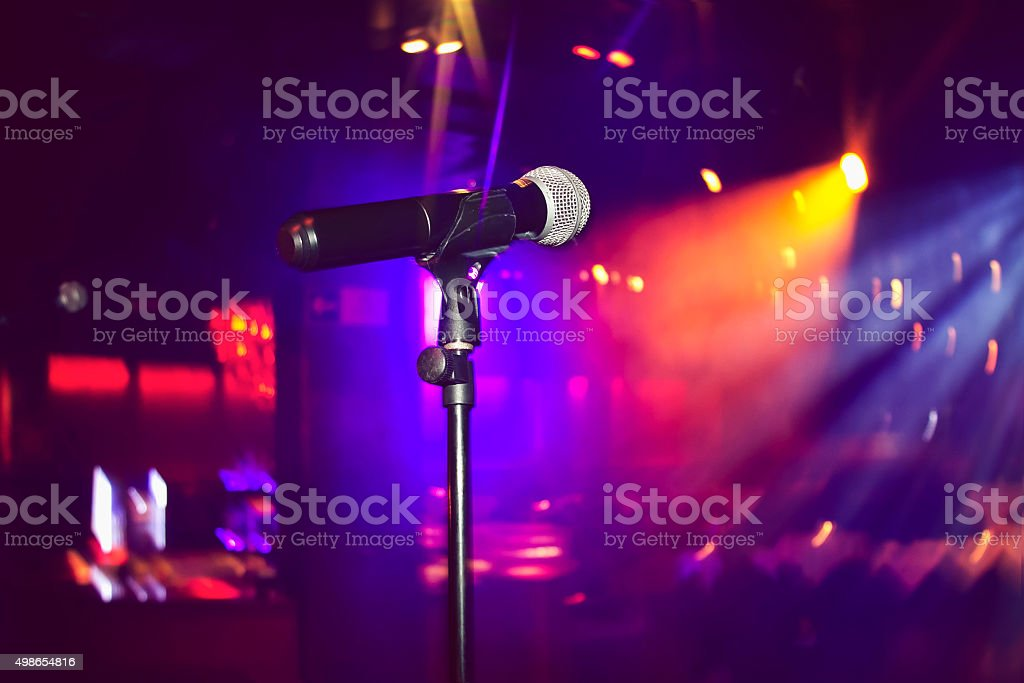 Microphone close up stock photo
