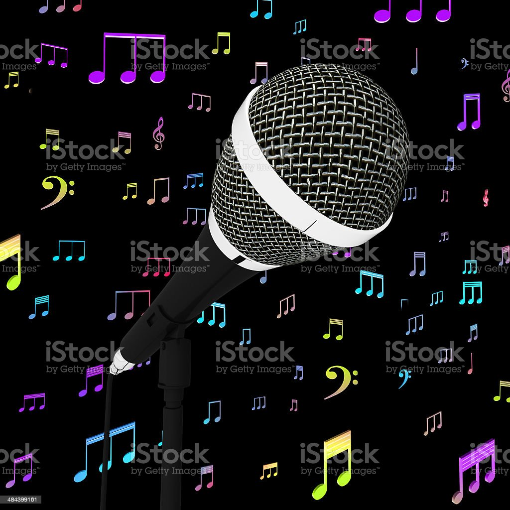 Microphone Closeup With Music Notes Shows Songs Or Hits stock photo