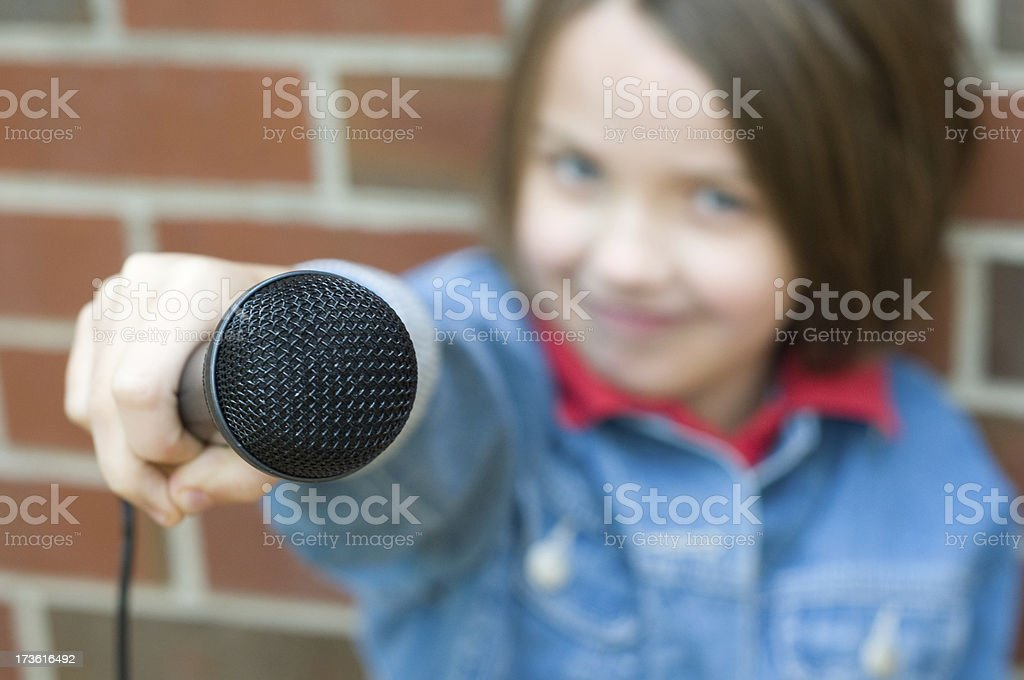 Microphone Girl - Little Reporter stock photo