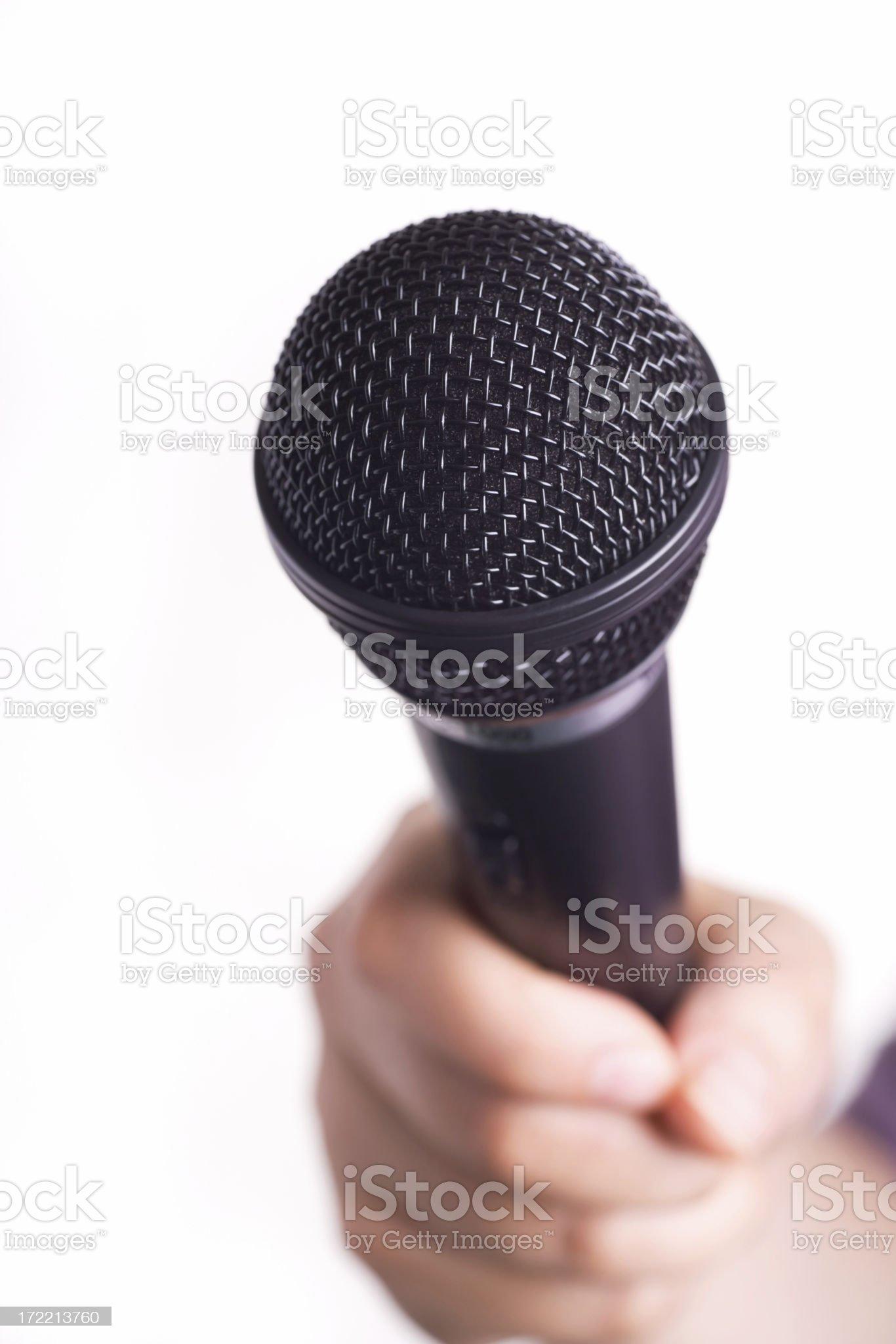 Microphone Held Toward Viewer royalty-free stock photo