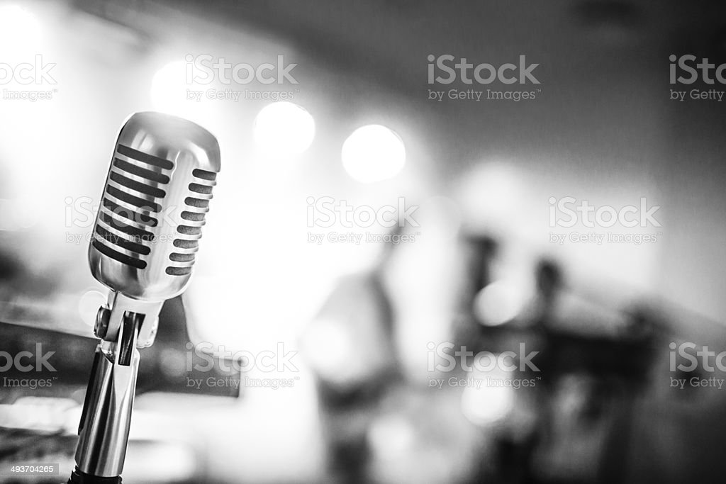 Microphone in a club stock photo