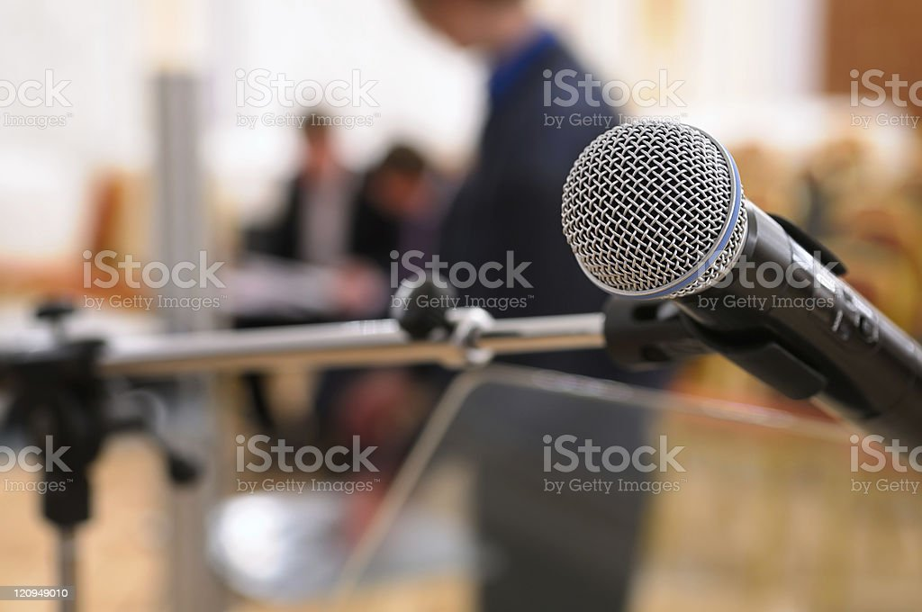 Microphone in a conference room. stock photo