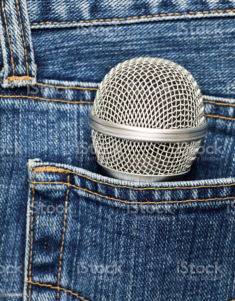 Microphone in a pocket stock photo