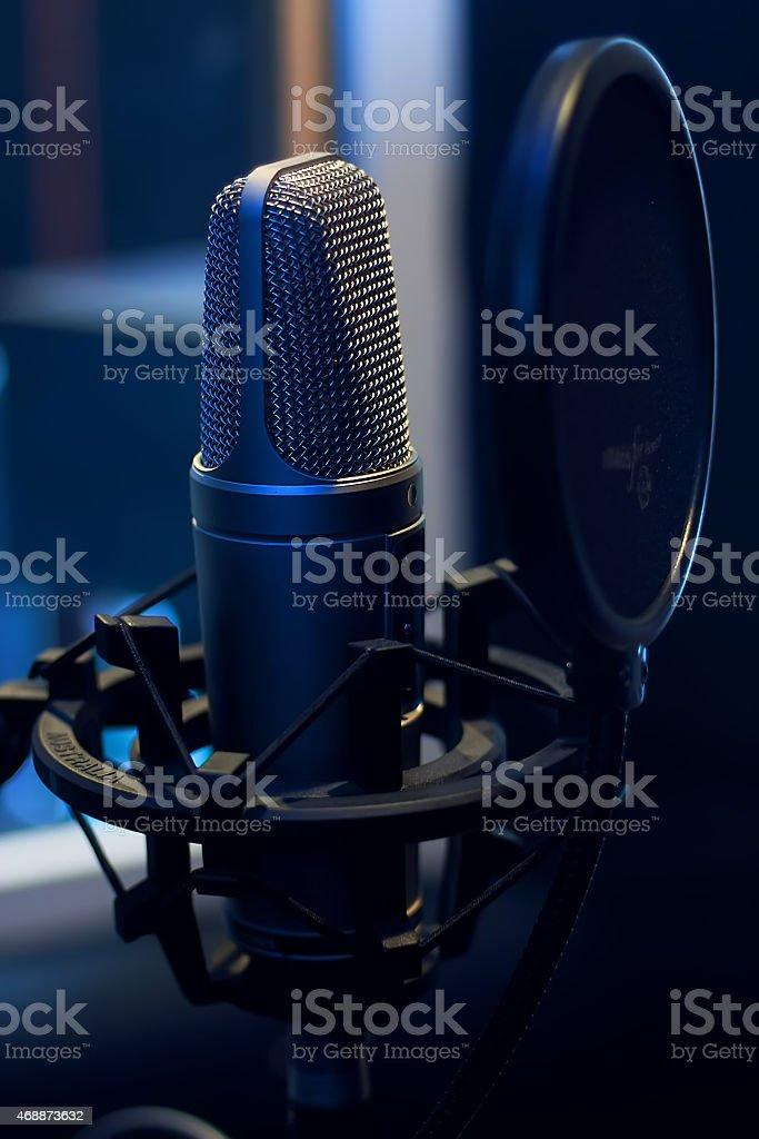 Microphone in a recording studio stock photo